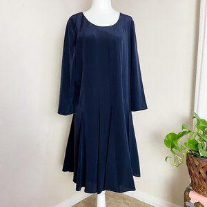 Club Monaco Long Sleeve Silk Dress Blue Size 10